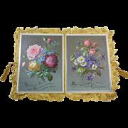 Large Victorian  Silk Fringed Christmas Card/Greeting/ Keepsake Circa 1890-1900, Roses, Lilly