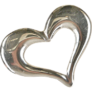 Vintage Large Sterling Silver Open Heart Pin Pendant