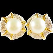 SALE Estate 11.5mm South Sea Pearl 18k Diamond 1.05ct tw Earrings