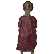 SOLD Oilcloth Rag Doll w/ Hand Painted Face