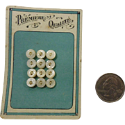 "Vintage cut pattern MOP buttons original card 3/8"" across"