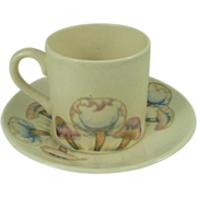 Moorcroft Claremont Coffee Cup and Saucer Vintage