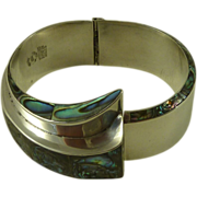 Sterling Silver Abalone Modernist Mexican Bracelet