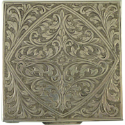 Hand Engraved European 800 Square Silver Powder Compact