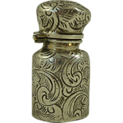 Miniature Victorian Engraved Silver Glass Lined Perfume Bottle
