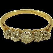 Classic 18K Gold & Platinum Edwardian Five Stone Diamond Ring