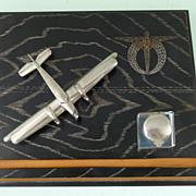 Vintage Czech model aircraft inkstand WWII pilot badge Kbely