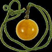 Chinese Amber Necklace Pendant Choker Silk Art Deco