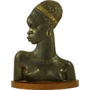 Hagenauer Style Bronze African Nude Girl Profile Bust Vintage