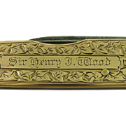Sir Henry J Wood Conductor 1910 15K Gold Pocket Knife BBC Proms Albert Hall Ibberson ...