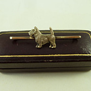 Gold Art Deco Scottie Dog / Highland Terrier 9 Carat Pin / Bar Brooch
