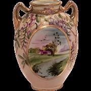 Nippon Wisteria & Raised Gold Scenic Vase
