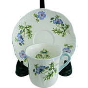 Shelley Blue Poppy Demitasse Cup & Saucer