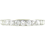 Art Deco Diamond Eternity Ring in Platinum. Diamond Full Hoop Wedding Ring with Engraved Sides