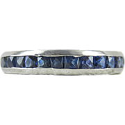 Estate French Cut Sapphire Full Hoop Eternity Ring. Modern Platinum Wedding Band, Blue ...