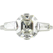 Antique Asscher Cut Diamond Engagement Ring, 3 Stone Diamond Ring with Baguette Accent Diamond