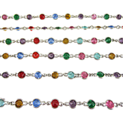 Antique Long Silver Plated Colourful Paste Guard Chain. Rainbow Crystal Rhinestones in Open ..