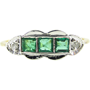 Emerald & Diamond Art Deco Engagement Ring. Carre Cut Green Emeralds, Diamond Accented 18ct ..
