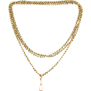 Antique 9 Carat Long Guard Chain, Faceted Fancy Link Yellow Gold Chain Necklace, Late Victoria