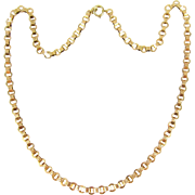 Antique Gold Chain Necklace, 9 Carat Gold Fancy Flat Engraved Link Necklace Book Chain. Late .