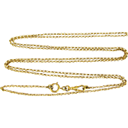 Victorian Pinchbeck Long Guard Chain, Belcher Link Muff or Lorgnette Chain Necklace, Dog Clip