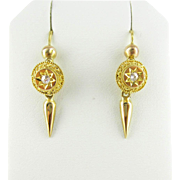 Antique Diamond Drop Earrings, Old Mine Cut Diamonds in Filigree Dangle Earrings. Circa 1880s,