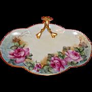 Vintage Guerin Limoges Handled Candy Dish - Roses & Gold -