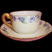Vintage T&V Limoges Tea Cup & Saucer - Hand-painted Violets
