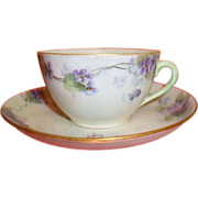Vintage C.T. (Bavaria) Tea Cup and Saucer - Hand-painted
