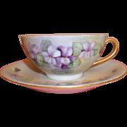 Vintage Hand-painted Tea Cup & Saucer - Bavaria ?