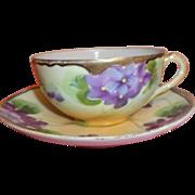 Vintage Hand-painted Tea Cup & Saucer Violets - Japan