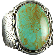 SOLD Massive Sterling Cuff with Green Turquoise and Carved Designs