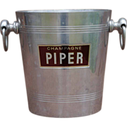SOLD Vintage French CHAMPAGNE Ice Bucket PIPER Heidsieck Aluminum Argit Magnum Shaped Handles.