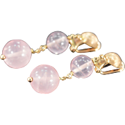 SALE 14K Rose Quartz Bead Earrings Yellow Gold