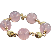 SALE 10K Rose Quartz & Gold Bead Bracelet 8 Yellow/Rose Gold
