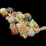SALE 14K Multi Colored Jade Leaf & Berries Pin/Brooch Yellow Gold