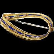 18K Antique Floral & Fleur-de-Lis Design Hard Fired Enamel Infinity  Pin/Brooch Yellow Gold