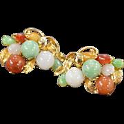 SALE 14K Multi Colored Jade Leaf & Berries Earrings Yellow Gold