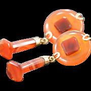 SALE 14K Carnelian Drop Earrings Yellow Gold
