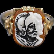 SALE 10K Carnelian & White Stone Cameo Ring - Size 6 / Yellow Gold