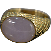 SALE 14K Bezel Set Cabochon Moonstone  Ring - Size 6 / Yellow Gold