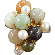 SALE 14K Multi Colored Jade & Pearl Leaf & Berries Ring Size 6.75 Yellow Gold