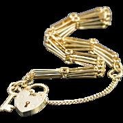 SALE 14K Heart Lock & Key Clasp On Bar Link Bracelet 7 Yellow Gold
