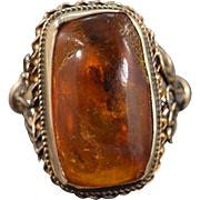 14K Amber Bezel Set Floral Motif Ring Yellow Gold