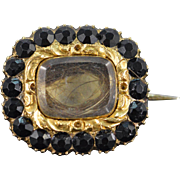 SALE 10K Victorian Black Glass & Hair Mourning Jewelry Pin/Brooch Yellow Gold