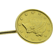 SALE 10K Antique 1 Dollar US Liberty Coin  Stick Pin  Yellow Gold