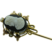 SALE 10K Antique Stone Cameo & Seed Pearl Stick Pin Yellow/Rose Gold