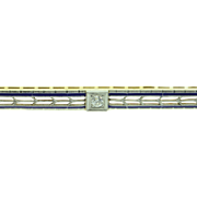 SALE 14K Victorian Old European Cut Diamond Blue Enamel Filigree Bar Pin/Brooch Yellow/White .