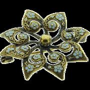 SALE 14K Victorian Blue Enamel Flower Pin/Brooch Yellow Gold