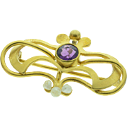 SALE 18K Antique Purple Glass & Seed Pearl Watch Hanger Pin/Brooch Yellow Gold